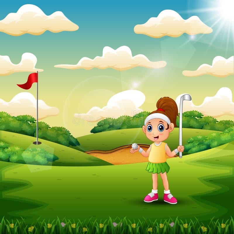 Een meisjes speelgolf in het hof vector illustratie