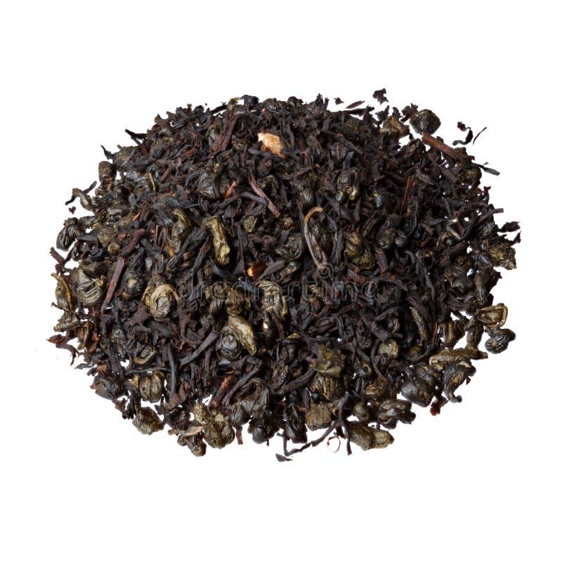 Een mengsel van de klassieke zwarte thee van Ceylon en buskruitthee met rijke groene appel, bergamot en sousep royalty-vrije stock fotografie