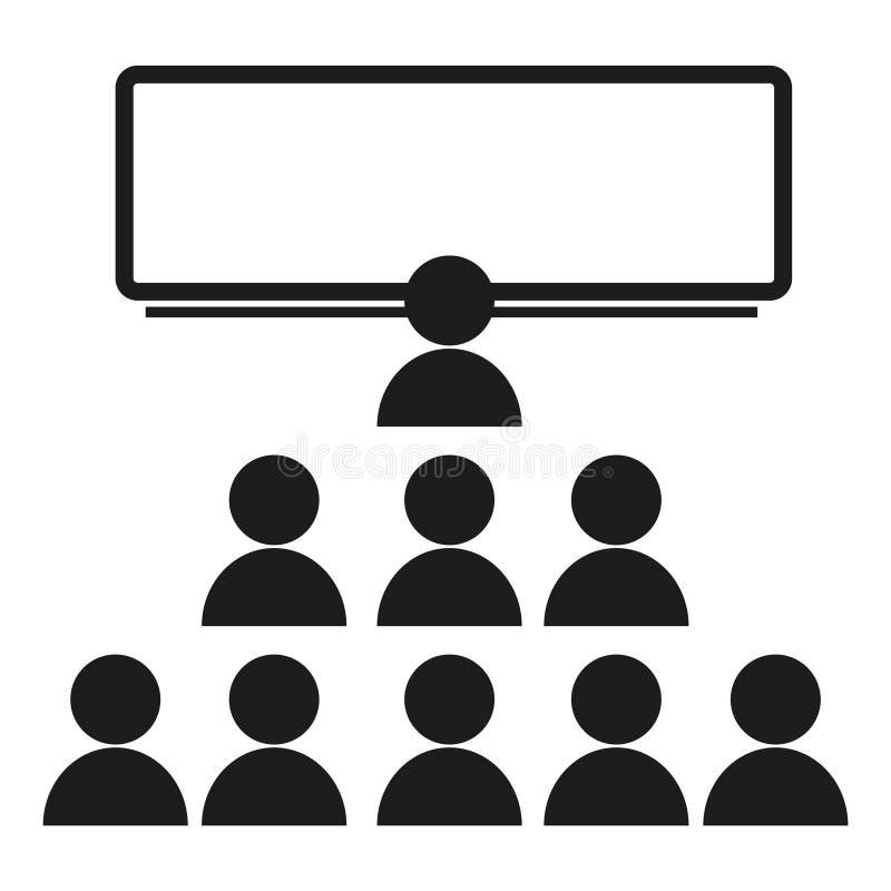 Een menigte van mensen dichtbij een het tekenillustratie van de schoolraad Vector Zwart pictogram op witte achtergrond vector illustratie