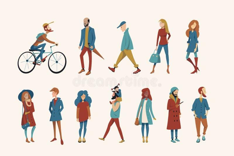 Een menigte van mensen kleedde zich in de herfstkleren royalty-vrije illustratie