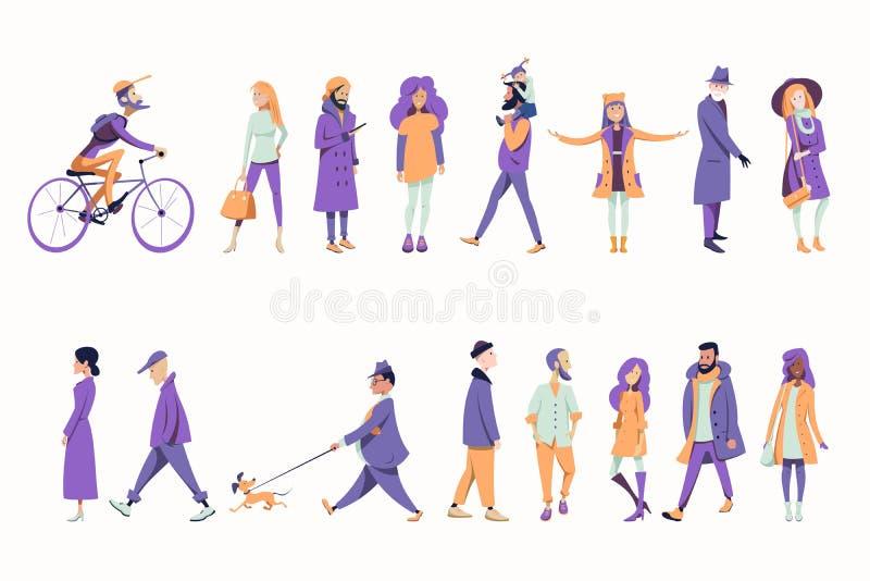 Een menigte van mensen kleedde zich in de herfstkleren vector illustratie