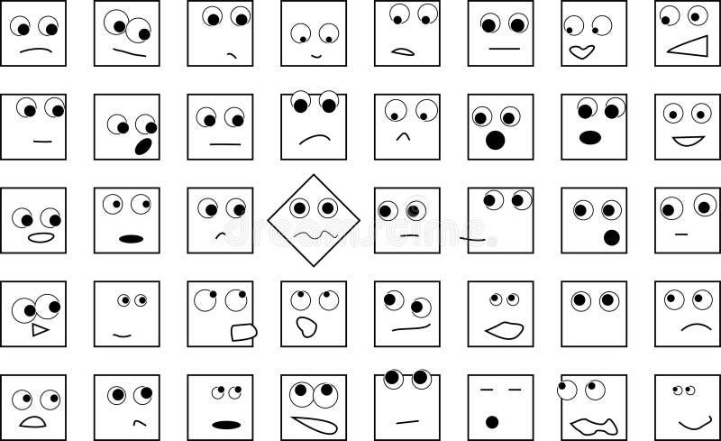 Een menigte van vierkante hoofden royalty-vrije illustratie