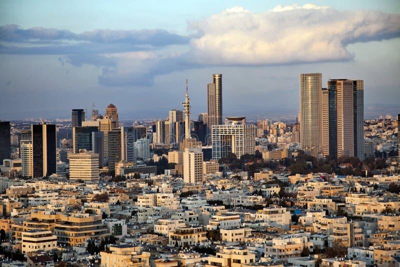 Horizon de van de binnenstad van Tel Aviv stock foto's