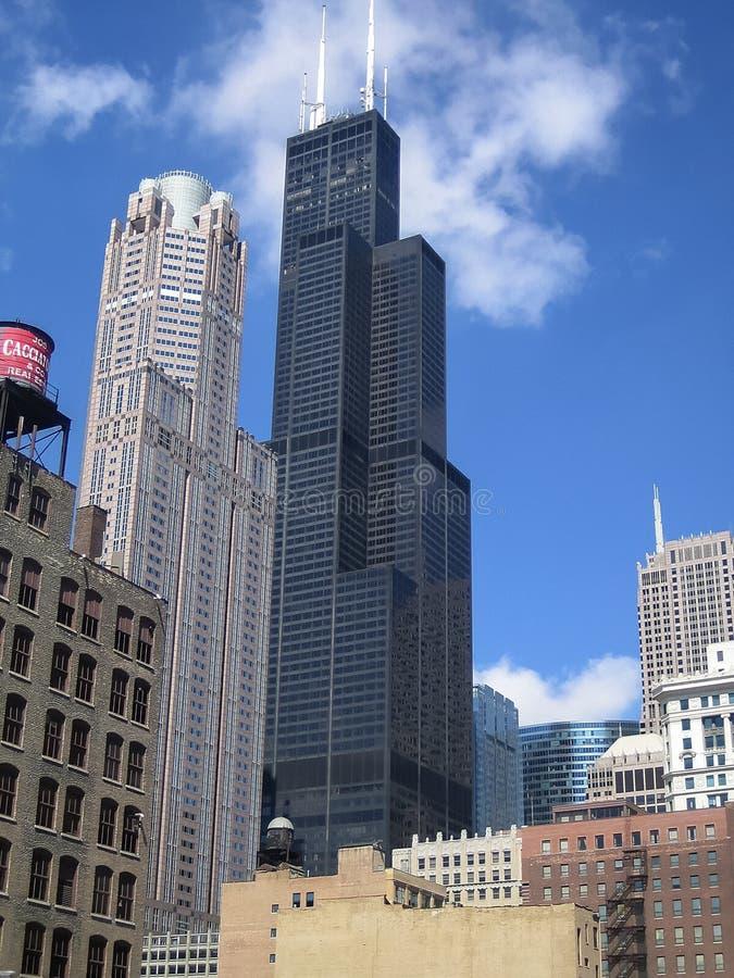 Een mening Chicago en schroeit/Willis Tower stock afbeeldingen