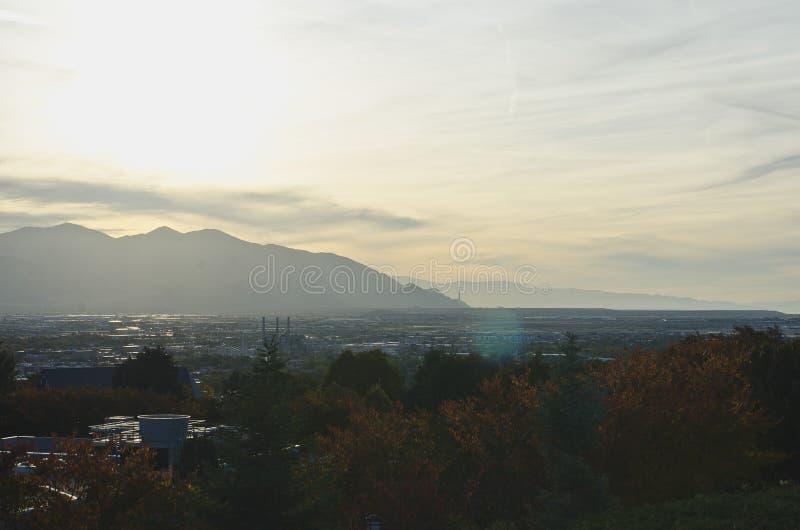 Een mening over de wazige vallei van Salt Lake City royalty-vrije stock afbeelding