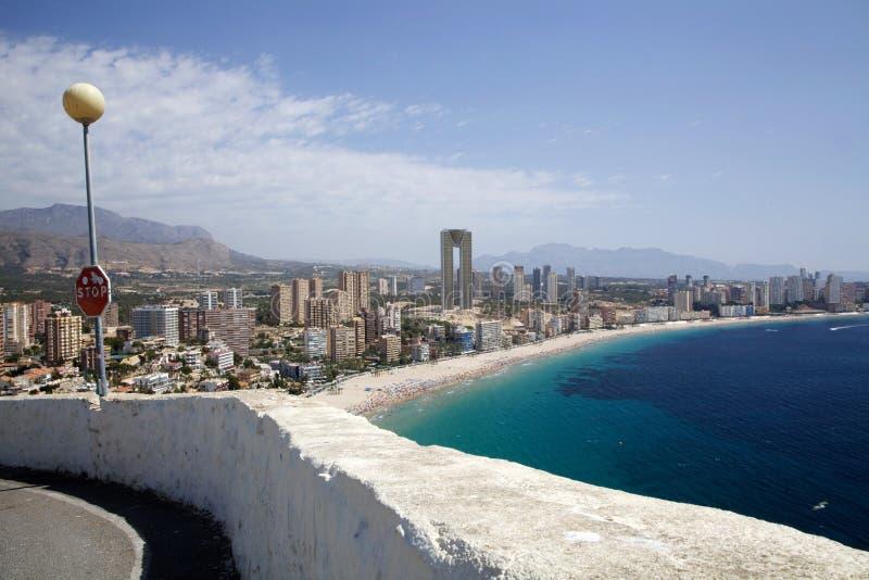 Een mening over Playa Levante in Benidorm stock foto's