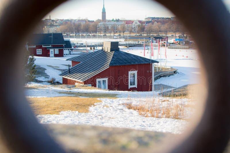 Een mening over een rode cabine royalty-vrije stock foto