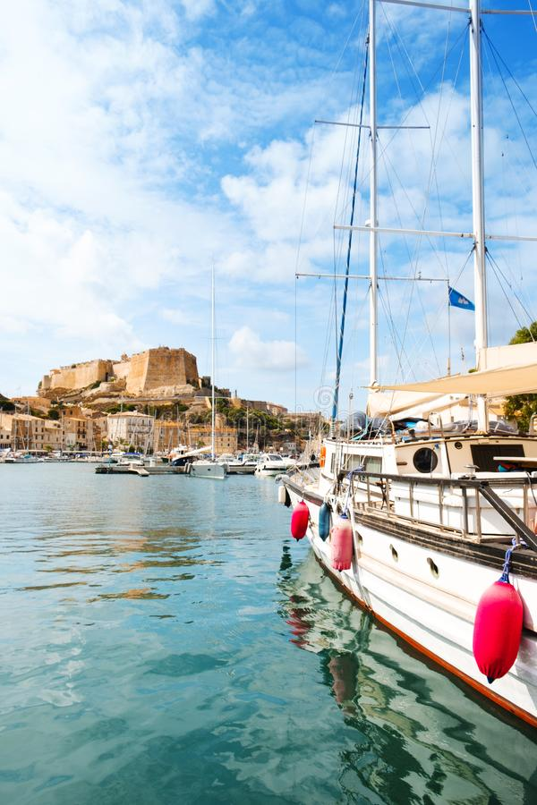 Een mening van Bonifacio, in Corse, Frankrijk stock foto's