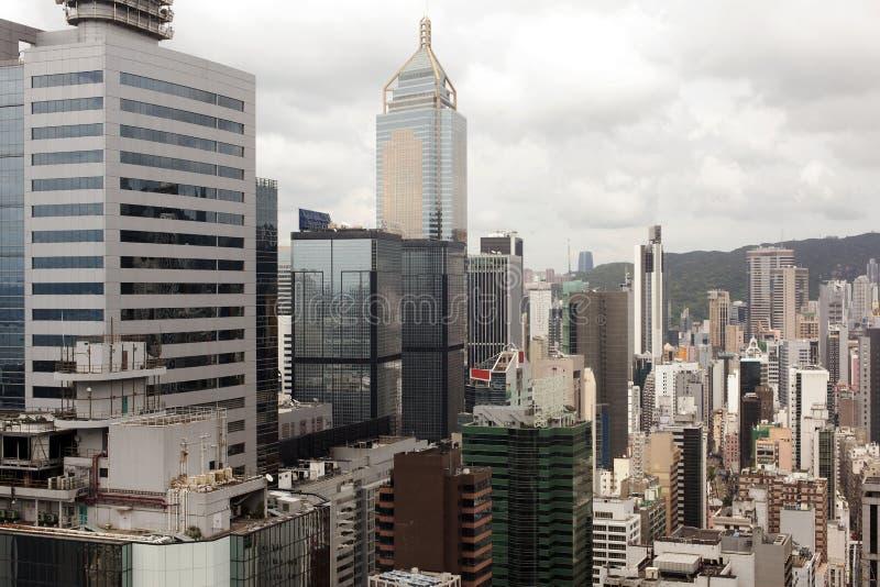 Een mening van cityscape in Hong Kong, China stock afbeelding