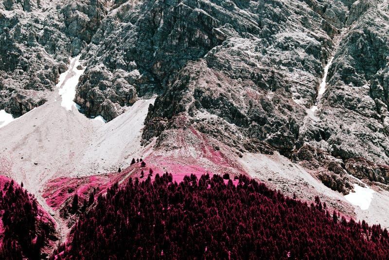 Een mening van de bergen van de alp in Zwitserland in kleureninfrared royalty-vrije stock afbeelding