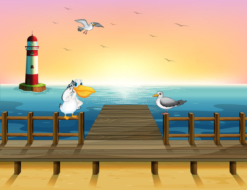 Een mening van de haven met de vogels vector illustratie