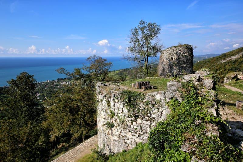 Een mening van de Iver-heuvel in Nieuwe Athos royalty-vrije stock fotografie