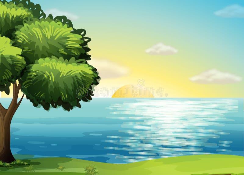Een mening van de oceaan stock illustratie