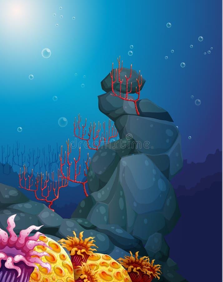 Een mening van de onderwereld met rotsen en koraalriffen royalty-vrije illustratie