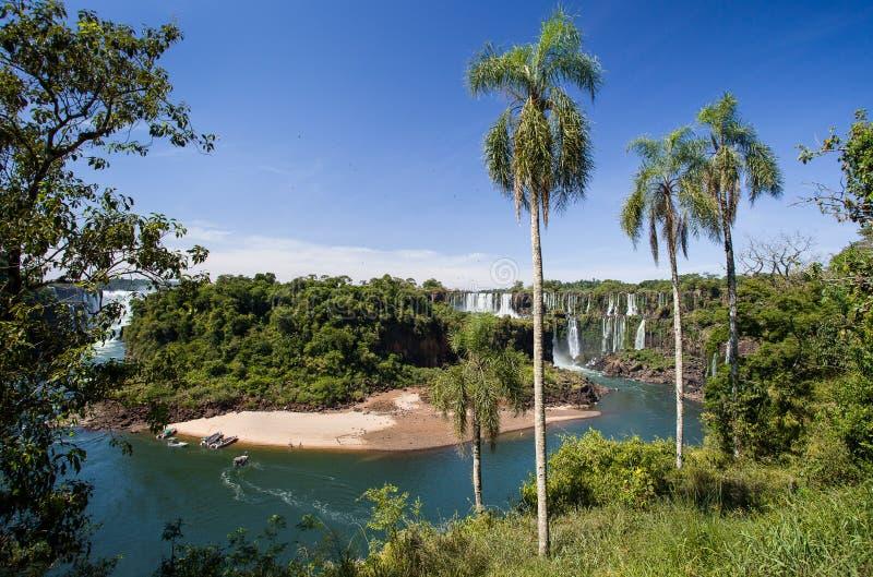 Een mening van de de rivier en dalingen van Iguazu royalty-vrije stock afbeelding