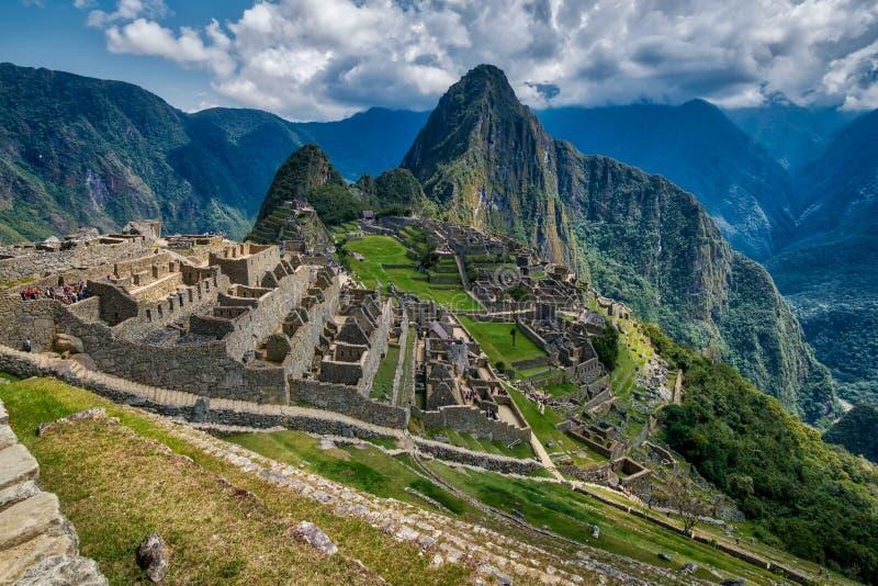 Een mening van de ruïnes van Machu Picchu royalty-vrije stock foto's
