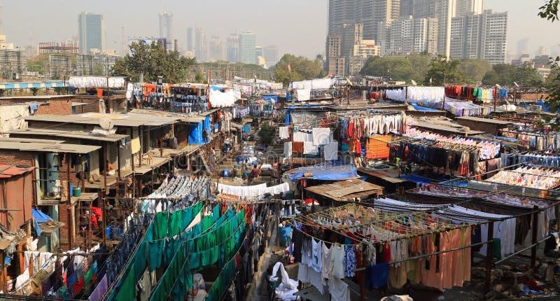 Een mening van Dhobi Ghat - rijen van was stock fotografie