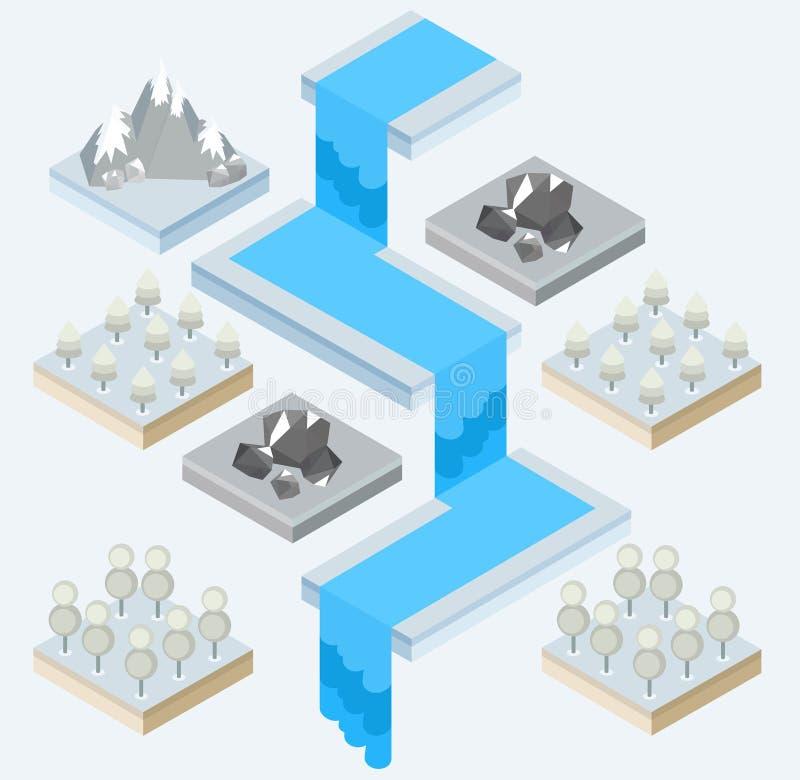 Een mening van een waterval en de omgeving vector illustratie