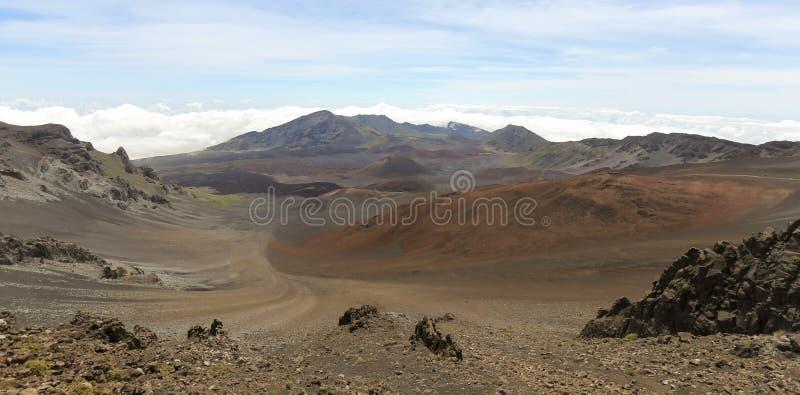Een mening van Haleakala Nationaal Park, Maui, Hawaï royalty-vrije stock afbeelding