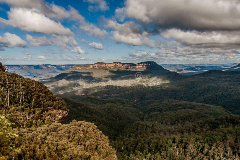 Een mening van het Blauwe Bergen Nationale Park, NSW, Australië stock afbeelding