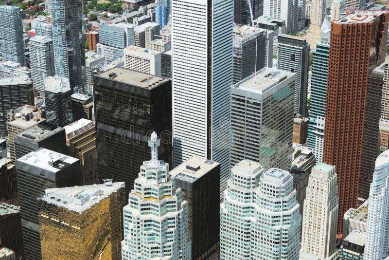 Een mening van het financiële district van Toronto van de lucht stock fotografie