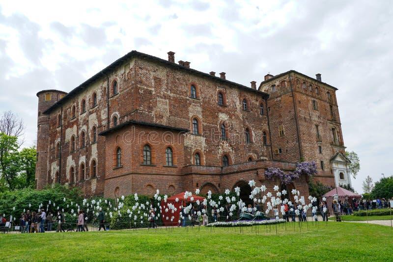 Een mening van het majestueuze Pralormo-kasteel royalty-vrije stock fotografie