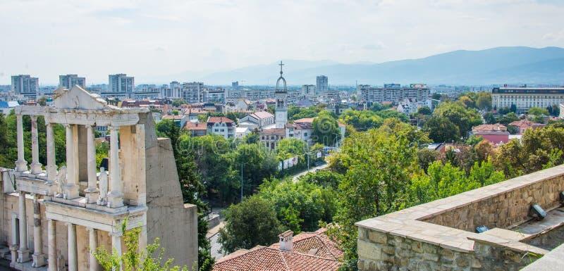 Een mening van het Roman theater van Plovdiv stock foto's
