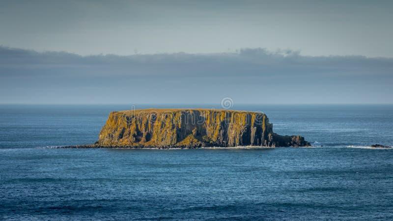 Een mening van het schapeneiland dichtbij reuzeverhoogde weg in Noord-Ierland stock foto's