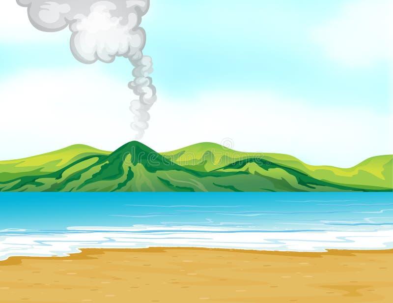Een mening van het strand dichtbij een vulkaan vector illustratie