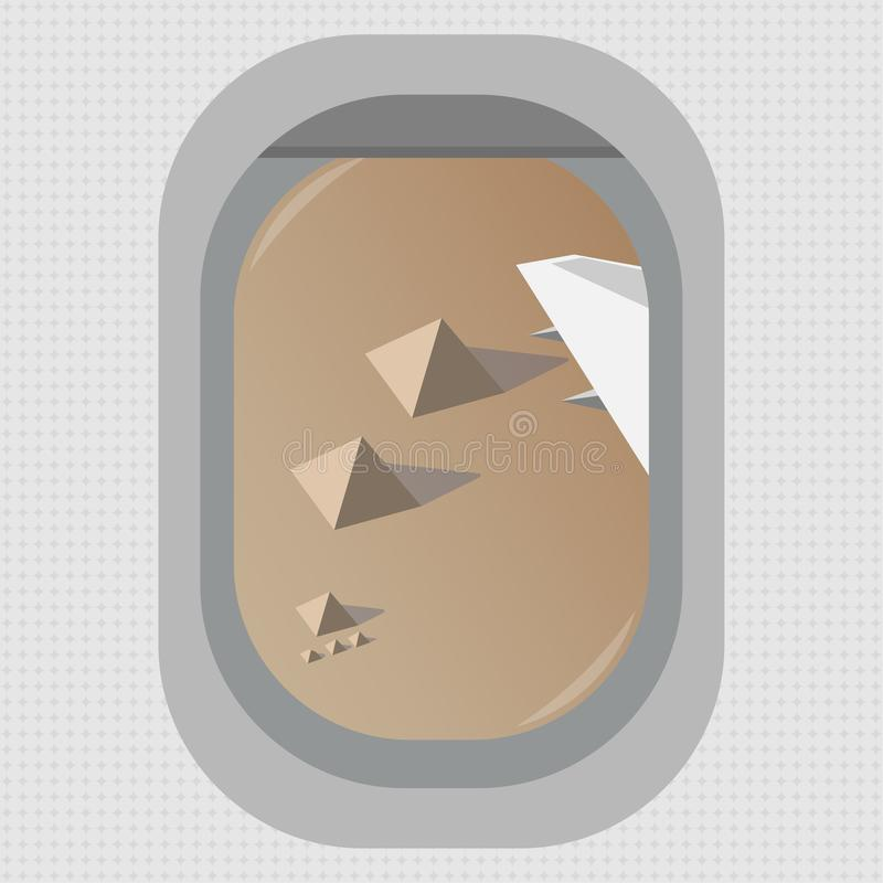 Een mening van het venster van een vliegend vliegtuig over de Egyptische piramides in Giza Vlakke stijl stock illustratie