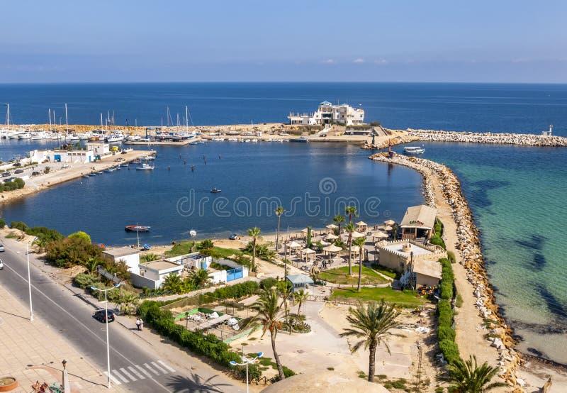 Een mening van Monastir-Haven van Ribat Tunesië stock afbeelding