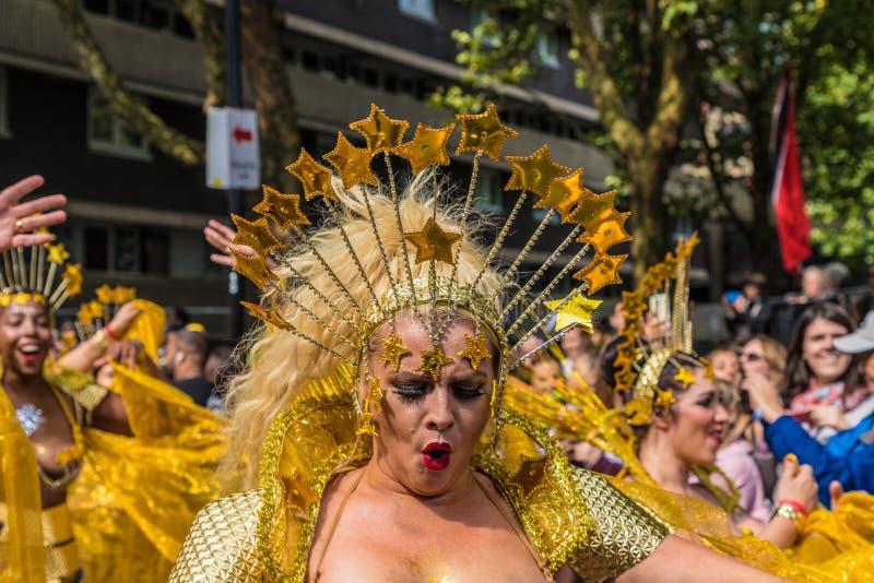 Een mening van Notting-Heuvel Carnaval Londen 2018 stock foto's