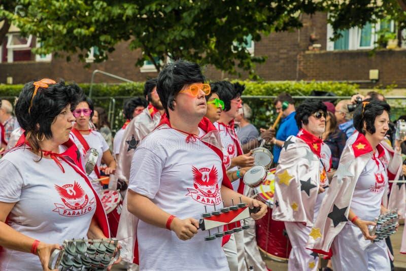 Een mening van Notting-Heuvel Carnaval Londen 2018 stock afbeelding