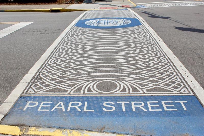 Een mening van Parelstraat in Nieuw Albany, Indiana stock fotografie