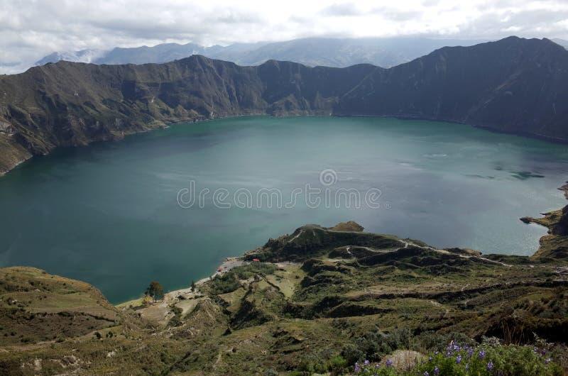 Een mening van Quilotoa-Meer stock afbeeldingen