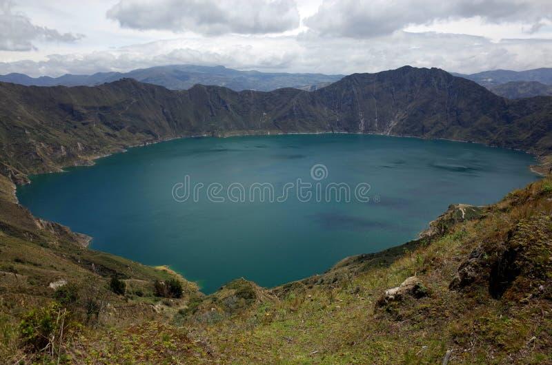 Een mening van Quilotoa-Meer stock foto