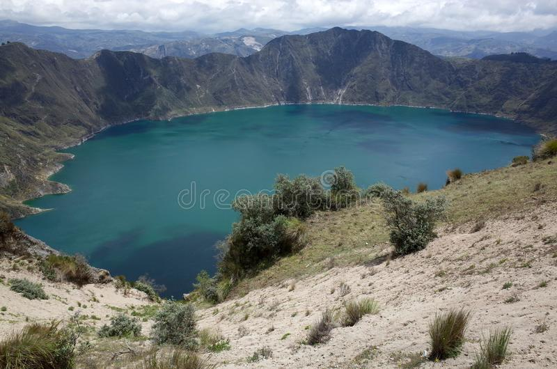 Een mening van Quilotoa-Meer stock fotografie