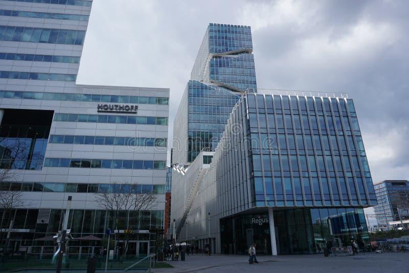 Een mening van Zuidas in Amsterdam, Nederland stock foto's