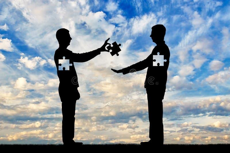 Een mens is een altruïst, een donor die een stuk van zich geeft, die offeren aan de persoon die het nodig heeft stock afbeelding