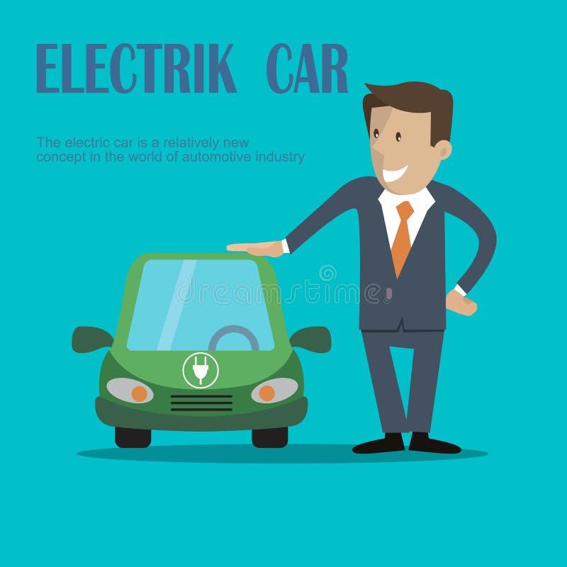 Een mens bevindt zich dichtbij elektrische auto royalty-vrije illustratie