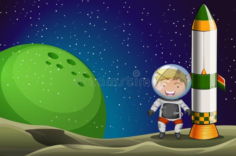 Een mens in de ruimte die zich naast de raket bevinden royalty-vrije illustratie