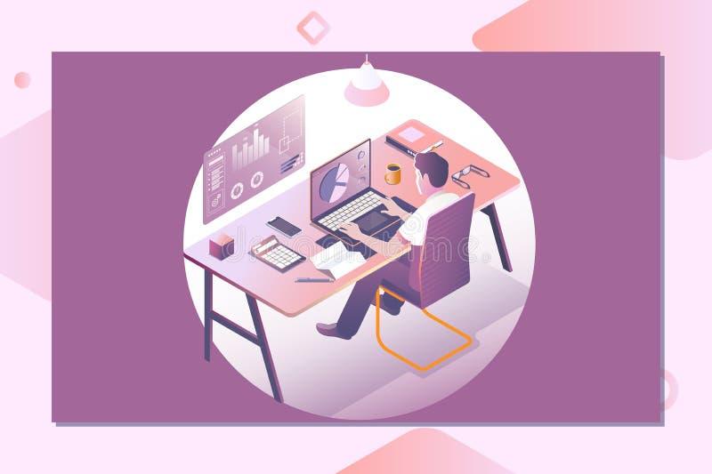 Een mens die aan laptop werken Werkruimteconcept met apparaten Landend Paginamalplaatje 3d vector isometrische illustratie vector illustratie