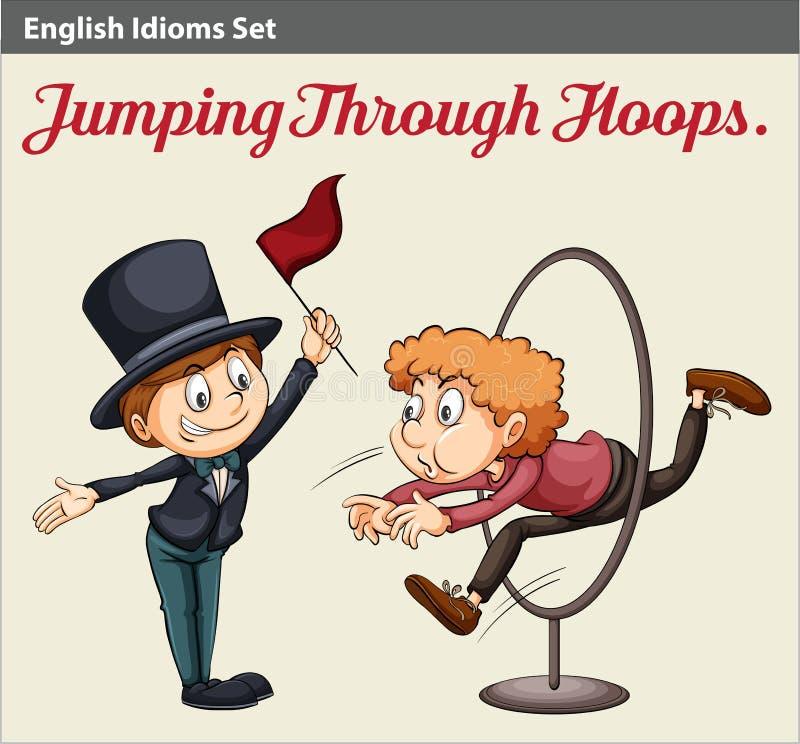 Een mens die door de hoepels springen vector illustratie