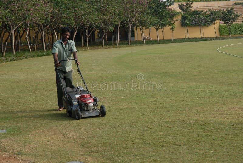 Een mens die het gras ter plaatse met machine in orde maken stock fotografie
