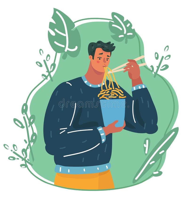 Een mens die hete en kruidige noedel eten stock illustratie