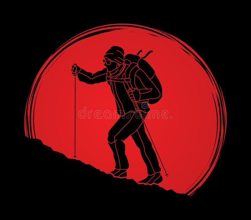 Een mens die op de berg wandelen stock illustratie