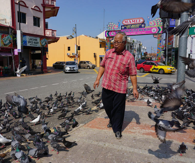 Een mens die op de hoofdstraat in Chinatown, Melaka, Maleisië lopen stock foto