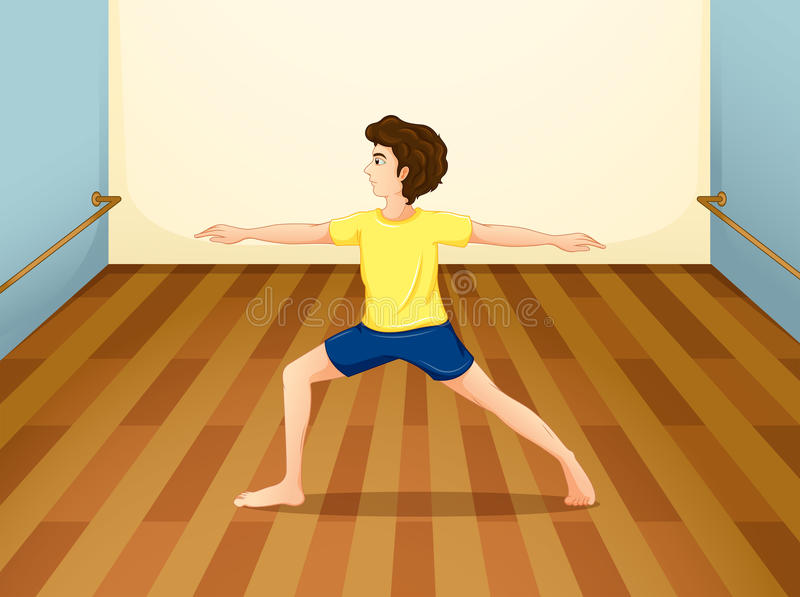 Een mens die yoga binnen een ruimte uitvoeren vector illustratie
