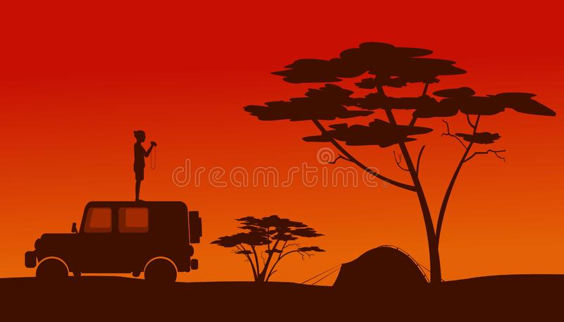 Een mens die zich op het dak van een auto bevinden vector illustratie