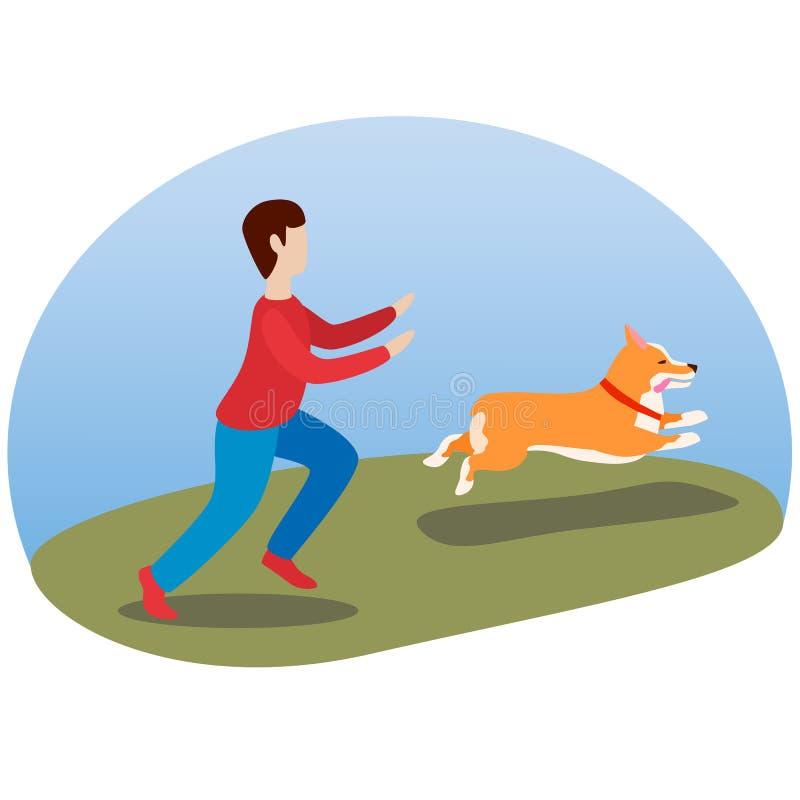 Een mens die zijn hond loopt Gelukkige leuke hond Welse Corgi De looppas van de puppypret, die uit zijn tong plakken vector illustratie